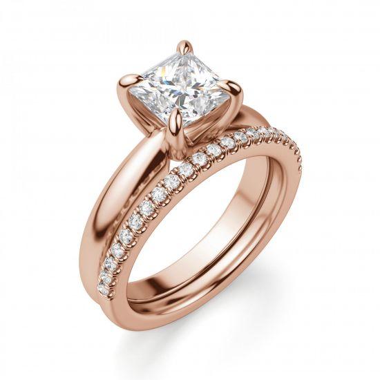 Кольцо с бриллиантом Принцесса из золота,  Больше Изображение 2