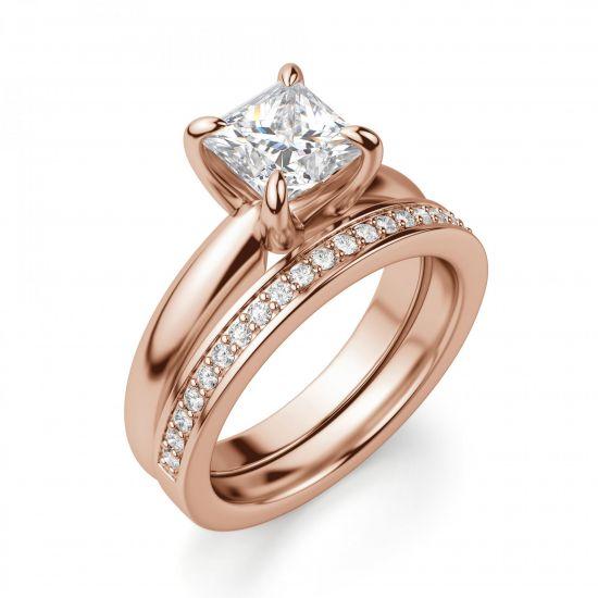 Кольцо с бриллиантом Принцесса из золота,  Больше Изображение 6