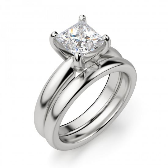 Кольцо с бриллиантом Принцесса из белого золота,  Больше Изображение 5