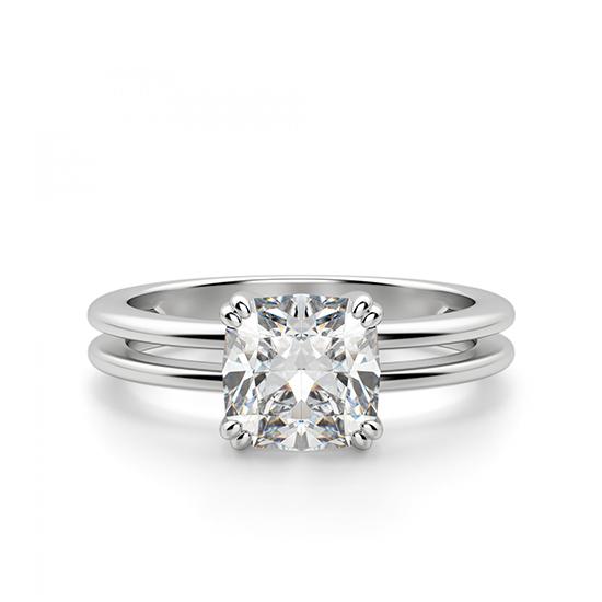 Кольцо двойное с бриллиантом огранки «кушон», Больше Изображение 1