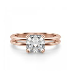 Кольцо двойное с бриллиантом Кушон