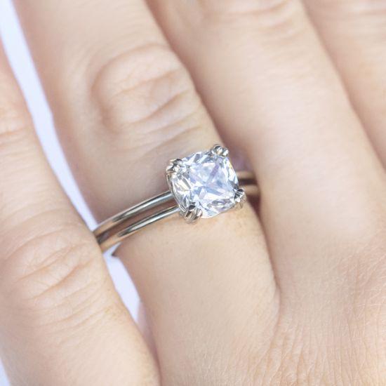 Кольцо двойное с бриллиантом огранки «кушон»,  Больше Изображение 4