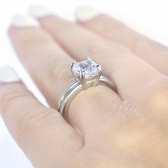 Кольцо двойное с бриллиантом огранки «кушон»,  Больше Изображение 5