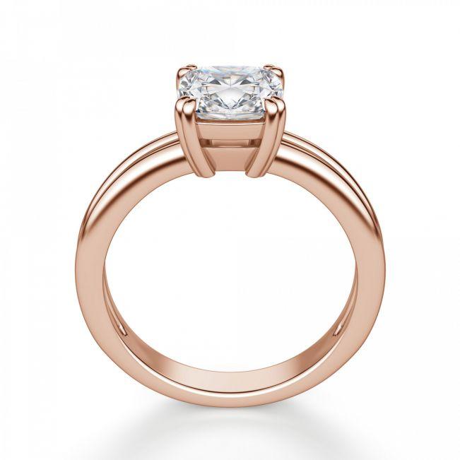 Кольцо солитер с белым бриллиантом огранки «кушон»