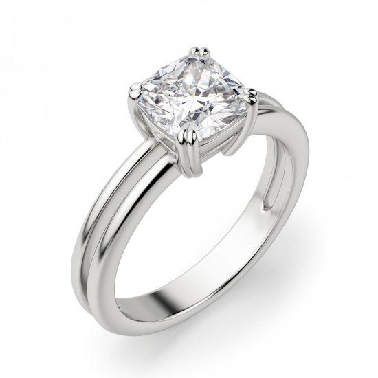 Кольцо двойное с бриллиантом огранки «кушон»,  Больше Изображение 2