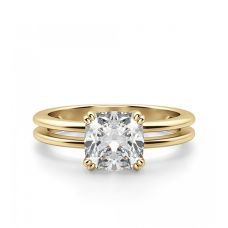 Кольцо двойное с бриллиантом огранки «кушон»