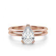 Кольцо двойное с бриллиантом Груша 1 кт из розового золота