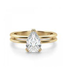 Кольцо двойное с белым бриллиантом Груша