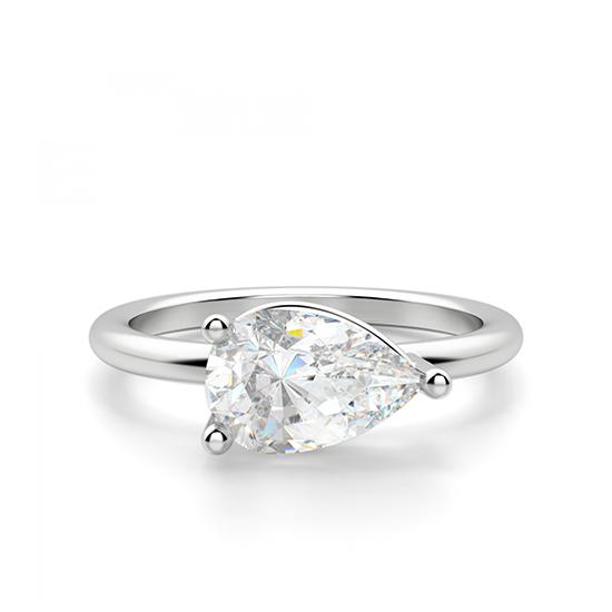Кольцо с горизонтальным бриллиантом огранки Груша, Больше Изображение 1