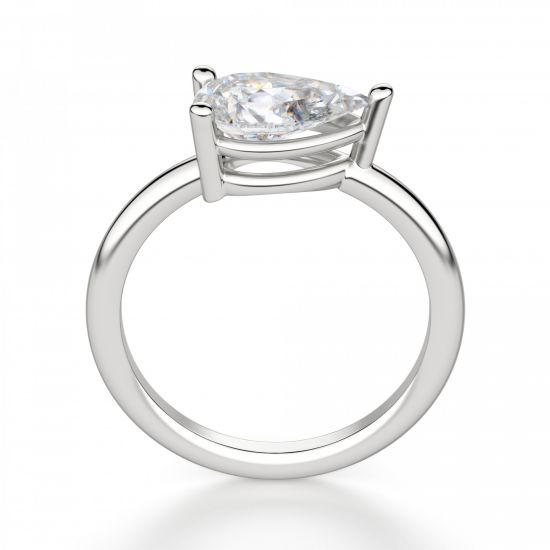 Кольцо с горизонтальным бриллиантом огранки Груша,  Больше Изображение 2