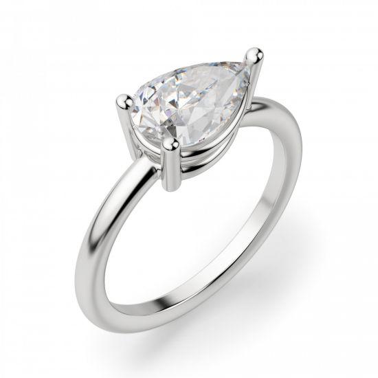 Кольцо с горизонтальным бриллиантом огранки Груша,  Больше Изображение 3
