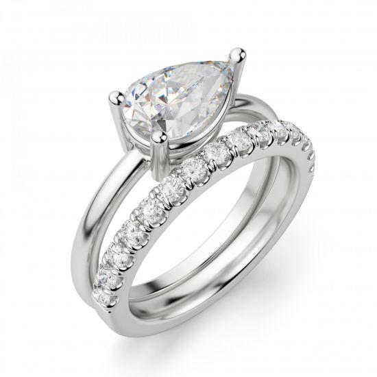 Кольцо с горизонтальным бриллиантом огранки Груша,  Больше Изображение 5