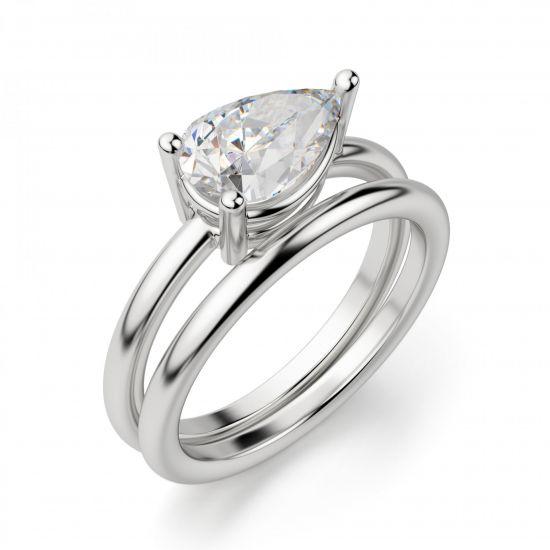 Кольцо с горизонтальным бриллиантом огранки Груша,  Больше Изображение 4
