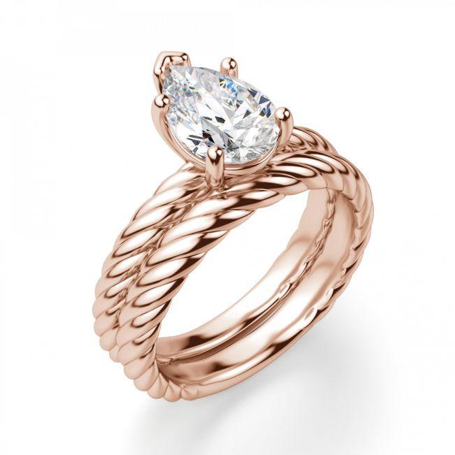 Кольцо плетеное с бриллиантом Капля - Фото 4