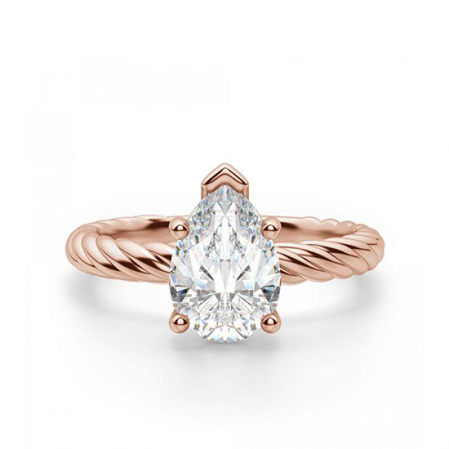 Кольцо плетеное с бриллиантом Капля 1 карат