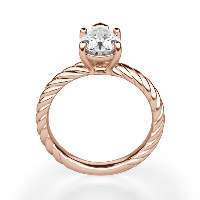 Кольцо плетеное с бриллиантом Капля 1 карат - Фото 1