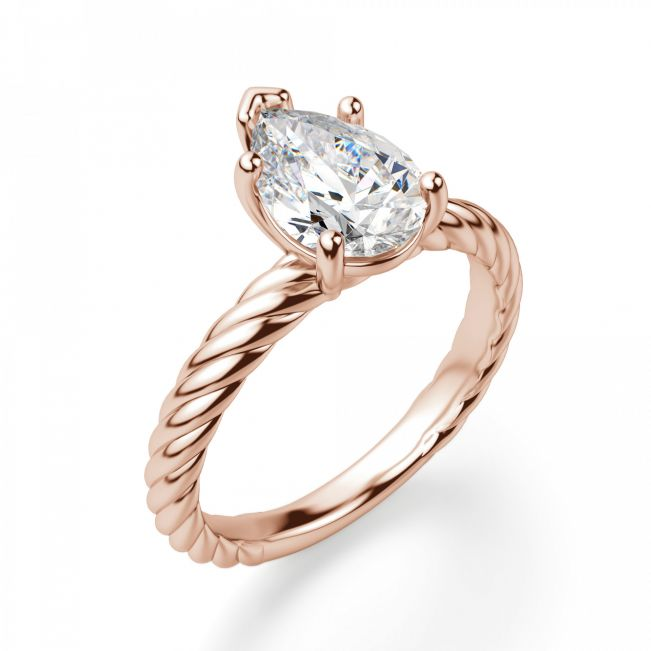 Кольцо плетеное с бриллиантом Капля - Фото 2