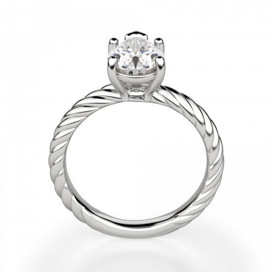Кольцо плетеный канат с бриллиантом Груша,  Больше Изображение 2