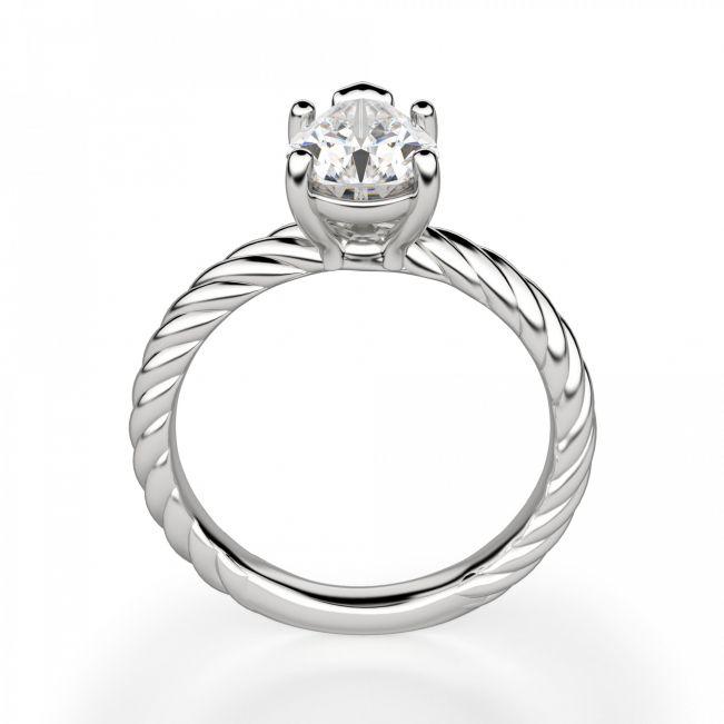 Кольцо плетеный канат с бриллиантом Груша - Фото 1