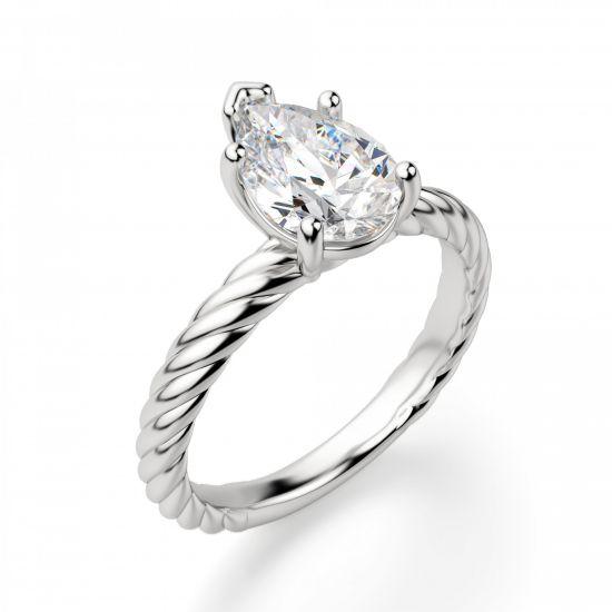 Кольцо плетеный канат с бриллиантом Груша,  Больше Изображение 3