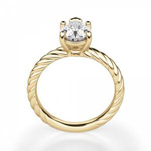 Кольцо плетеное с бриллиантом Груша
