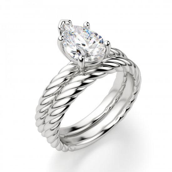 Кольцо плетеный канат с бриллиантом Груша,  Больше Изображение 4