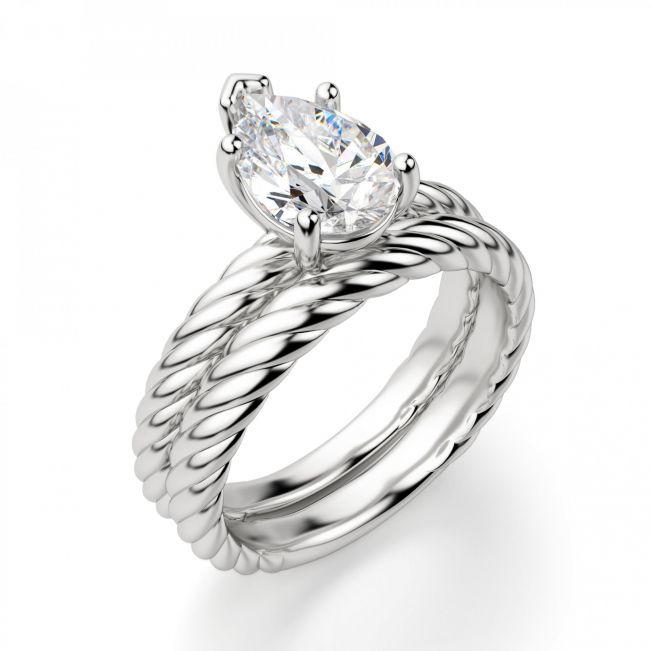 Кольцо плетеный канат с бриллиантом Груша - Фото 3