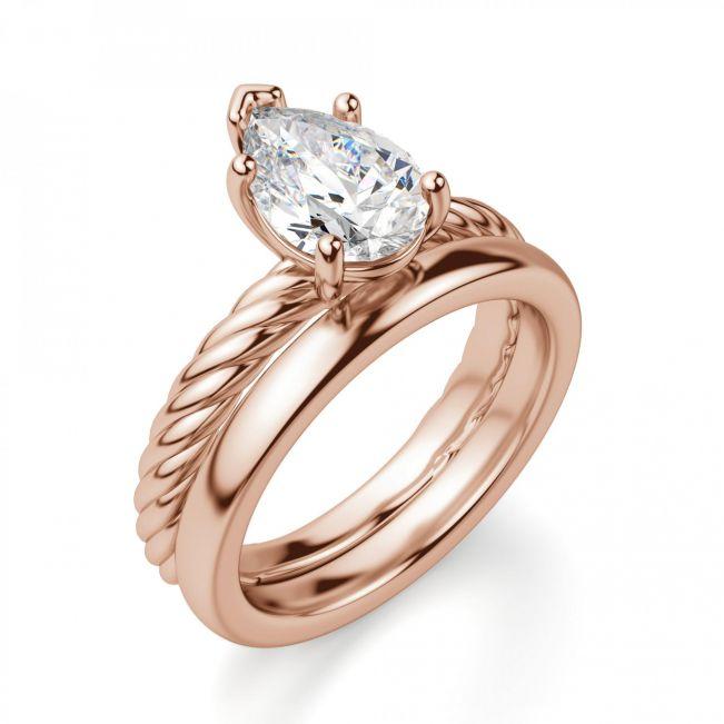 Кольцо плетеное с бриллиантом Капля 1 карат - Фото 2