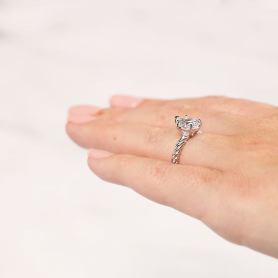 Кольцо плетеный канат с бриллиантом Груша,  Больше Изображение 5