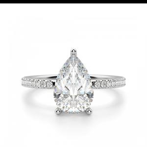 Кольцо солитер с бриллиантом Груша из белого золота