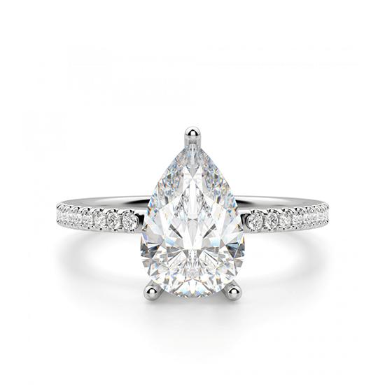 Кольцо солитер с бриллиантом Груша из белого золота, Больше Изображение 1
