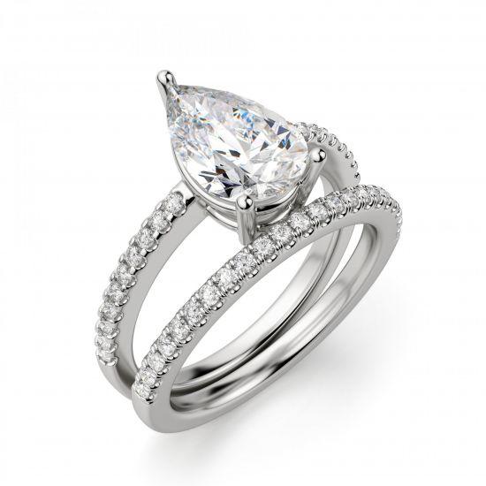 Кольцо солитер с бриллиантом Груша из белого золота,  Больше Изображение 5