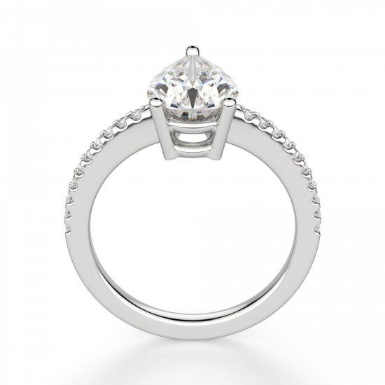 Кольцо солитер с бриллиантом Груша из белого золота,  Больше Изображение 2