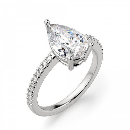 Кольцо солитер с бриллиантом Груша из белого золота,  Больше Изображение 3