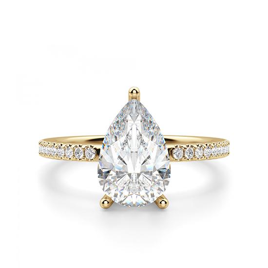 Кольцо солитер из золота с бриллиантом Груша, Больше Изображение 1