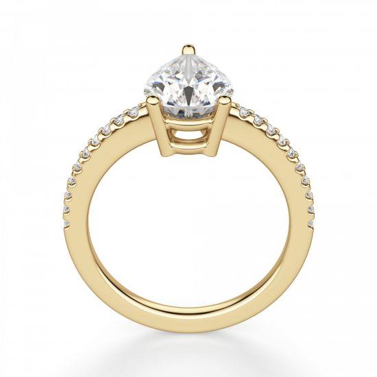 Кольцо солитер из золота с бриллиантом Груша,  Больше Изображение 2