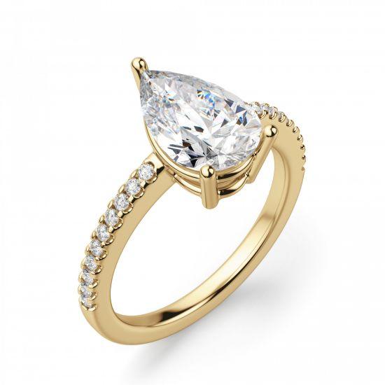 Кольцо солитер из золота с бриллиантом Груша,  Больше Изображение 3