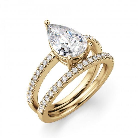Кольцо солитер из золота с бриллиантом Груша,  Больше Изображение 4