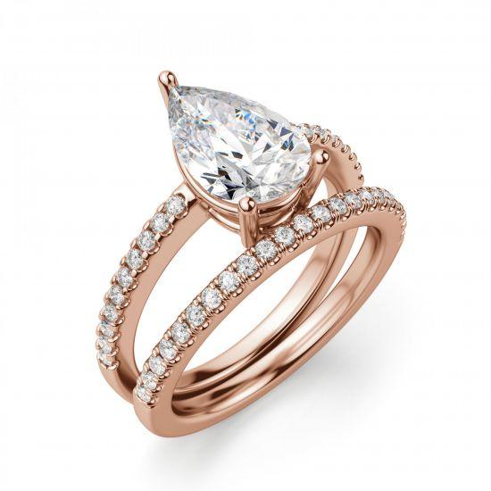 Кольцо солитер с бриллиантом огранки Груша,  Больше Изображение 5