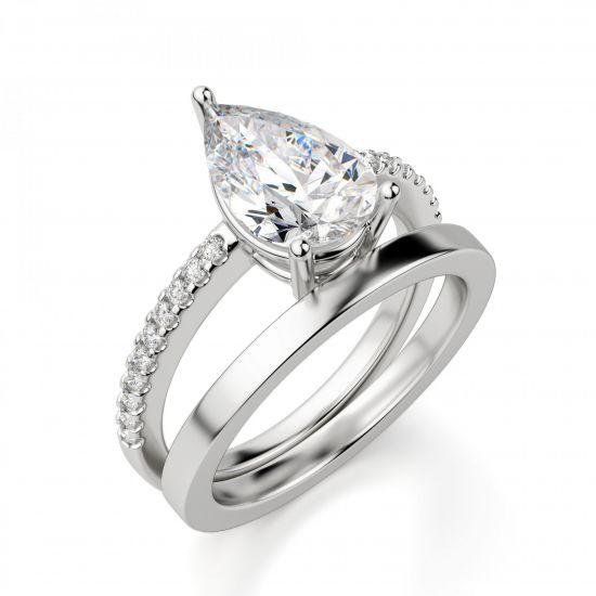 Кольцо солитер с бриллиантом Груша из белого золота,  Больше Изображение 4