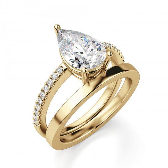 Кольцо солитер из золота с бриллиантом Груша,  Больше Изображение 5