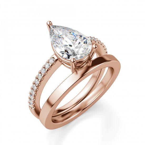 Кольцо солитер с бриллиантом огранки Груша,  Больше Изображение 4