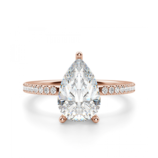 Кольцо солитер с бриллиантом огранки Груша, Больше Изображение 1