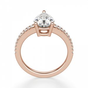 Кольцо солитер с бриллиантом огранки Груша