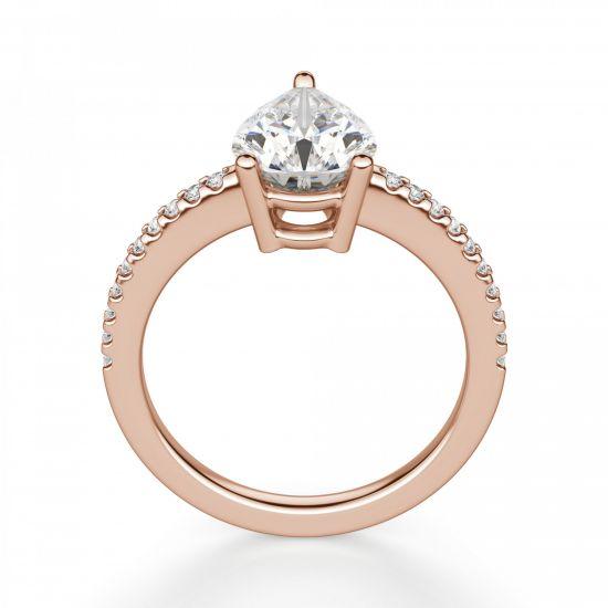 Кольцо солитер с бриллиантом огранки Груша,  Больше Изображение 2
