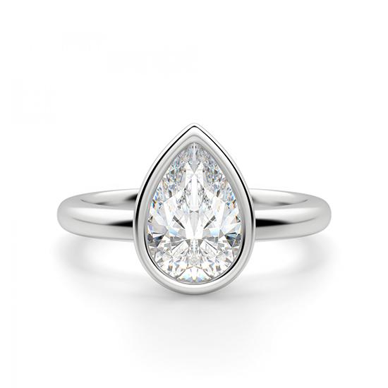 Кольцо солитер с бриллиантом Груша в золоте, Больше Изображение 1