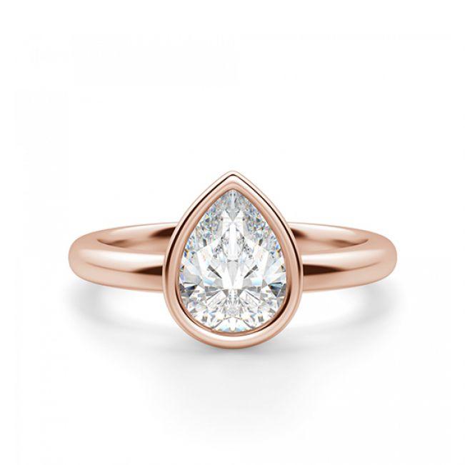 Кольцо с бриллиантом Груша в розовом золоте