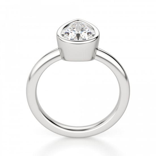 Кольцо солитер с бриллиантом Груша в золоте,  Больше Изображение 2