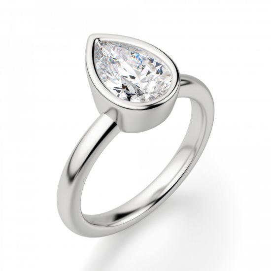 Кольцо солитер с бриллиантом Груша в золоте,  Больше Изображение 3