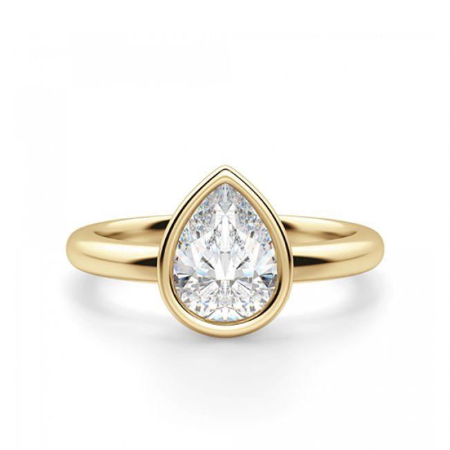 Кольцо солитер с белым бриллиантом огранки «груша»